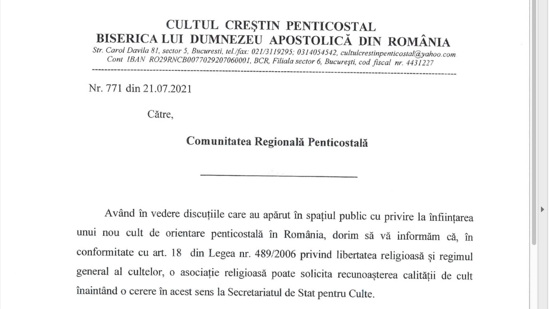 Comunicat Cultul Penticostal